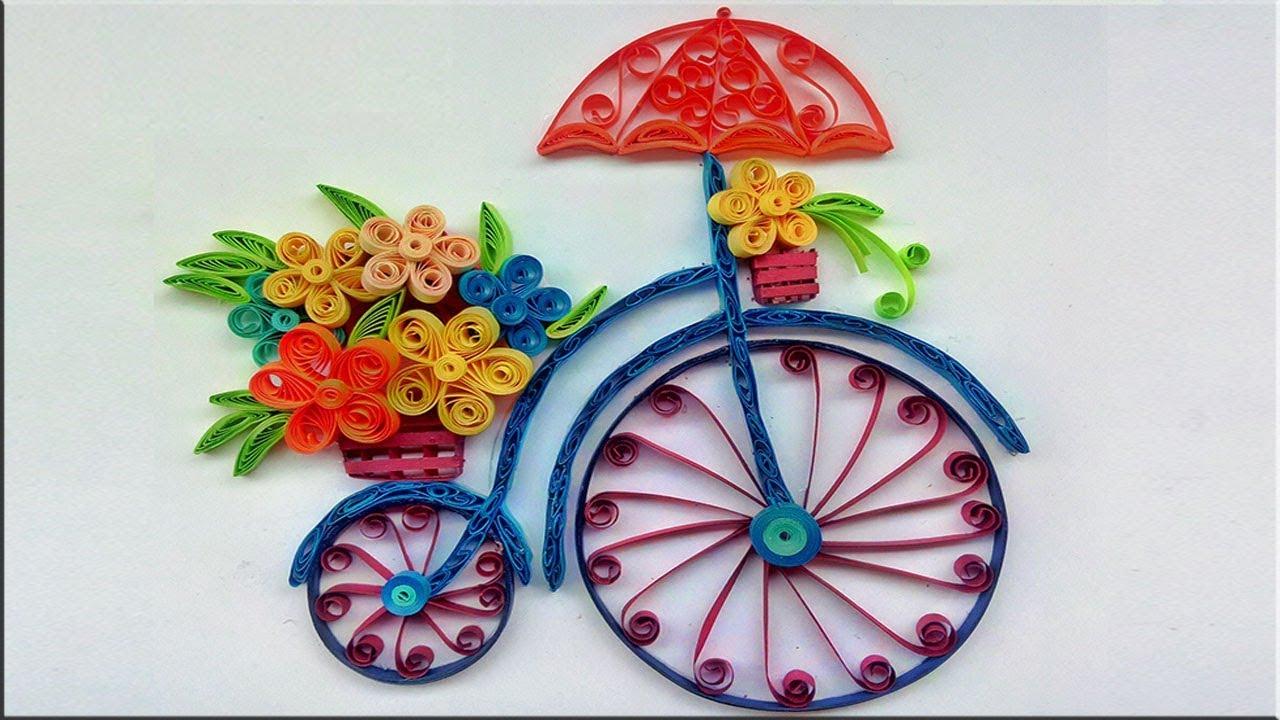 bicicleta com flores em quilling