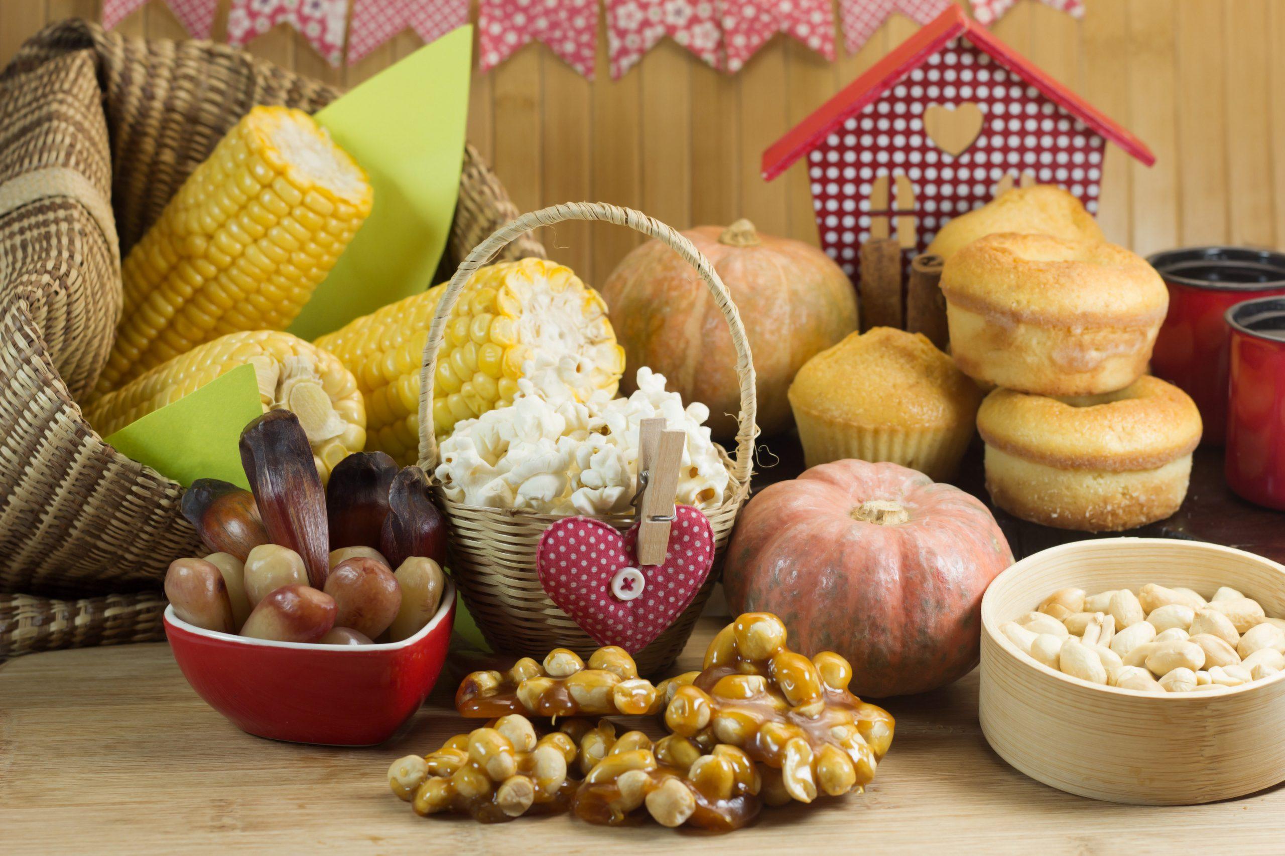 comidas típicas podem servir de enfeites para festa junina