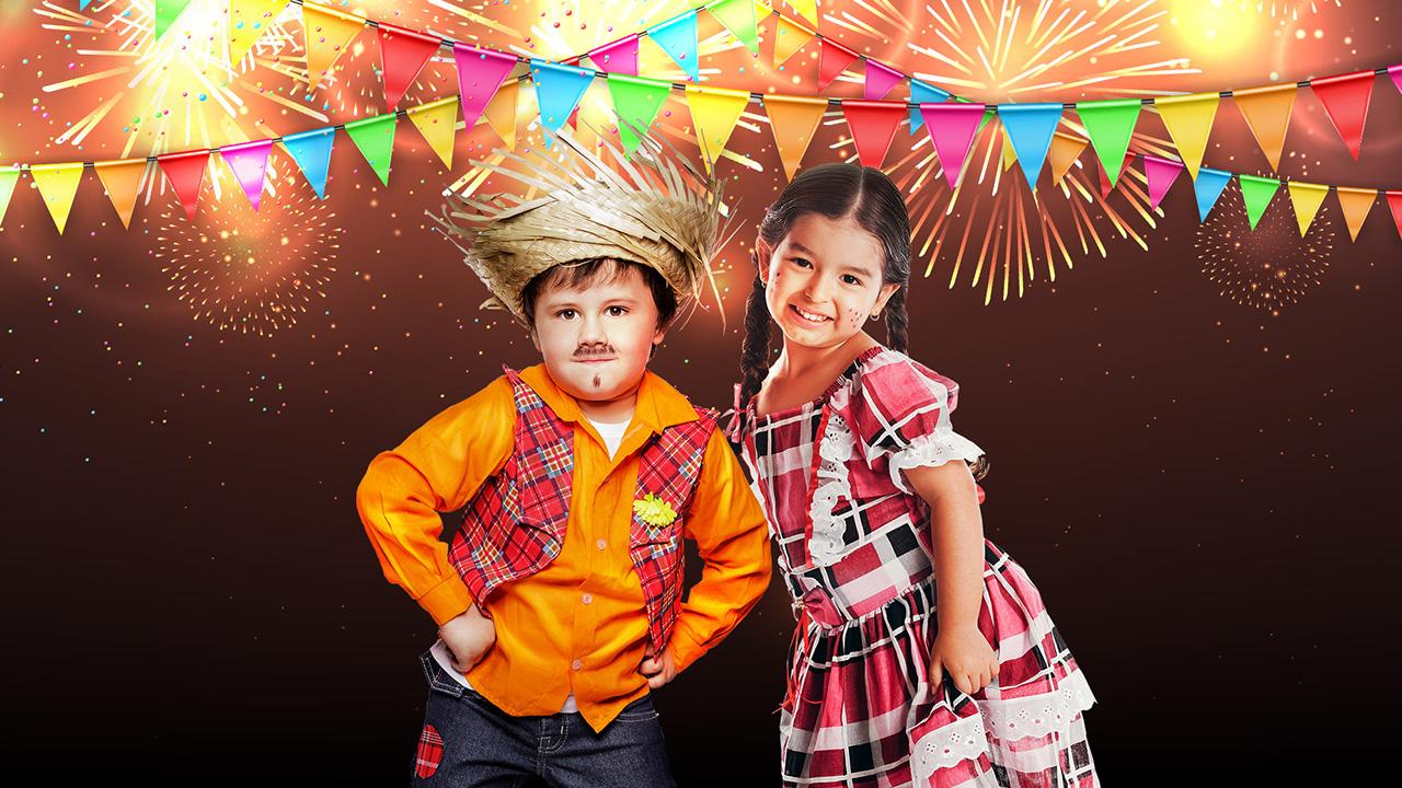 crianças vestidas com roupas de festa junina