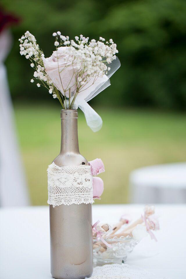 garrafa decorada com renda casamento