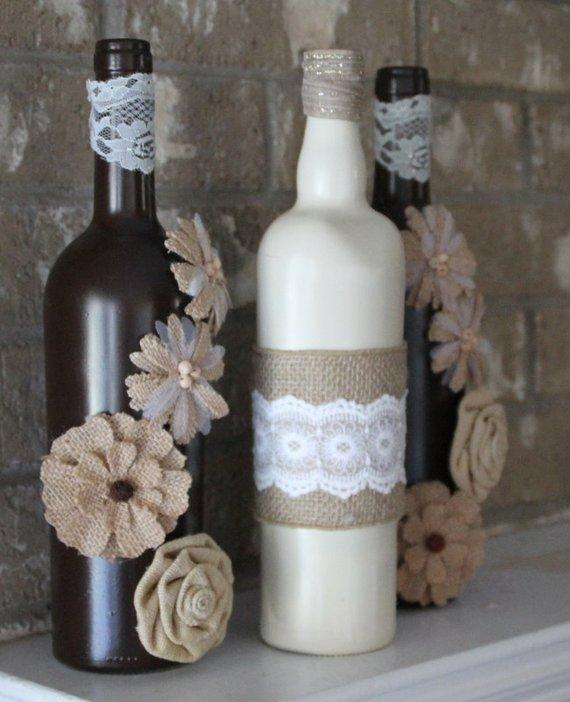 garrafas decoradas com renda