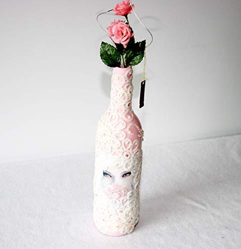 garrafas decoradas com renda olhos desenhados