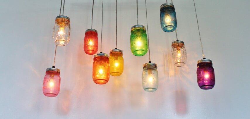 potes de vidro como luminárias