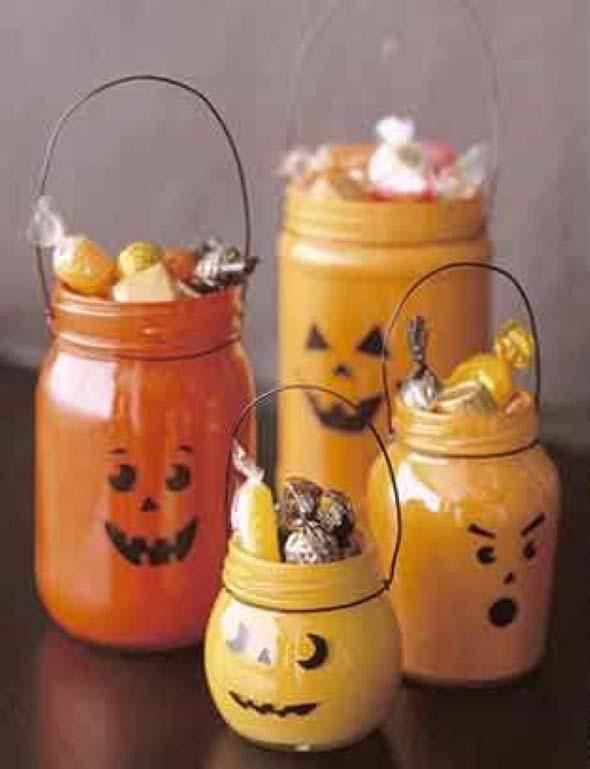 pote de vidro para Halloween