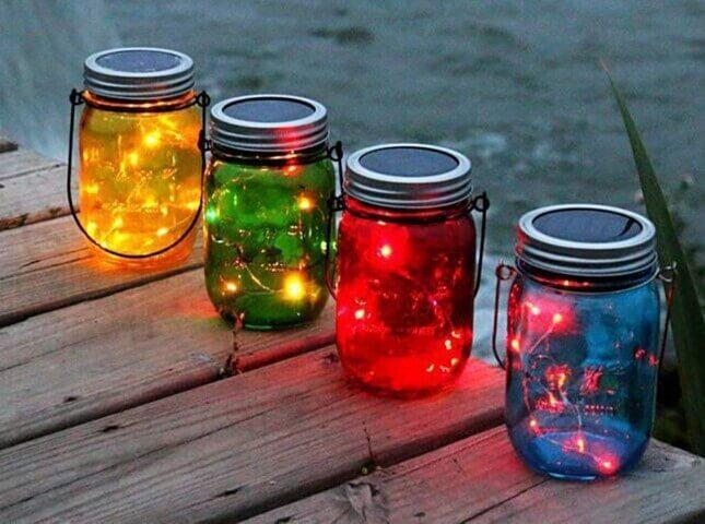 pote de vidro luminosos