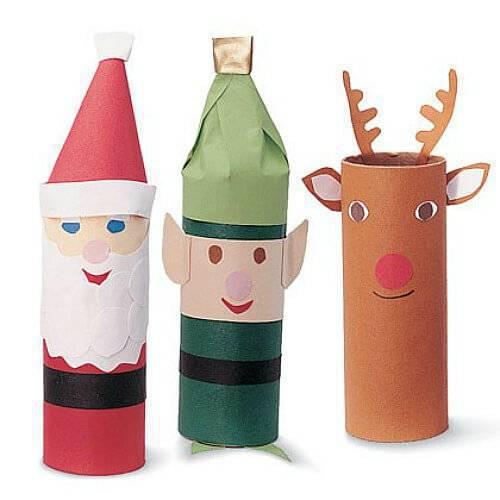 Bonecos de natal de rolo de papel higienico