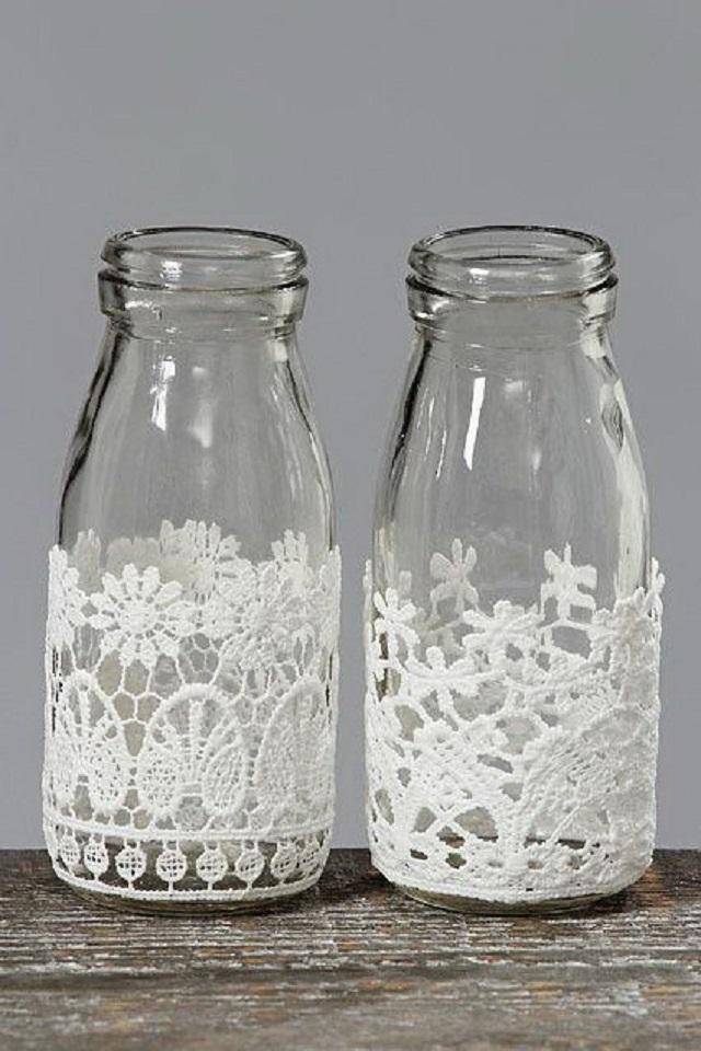 potes de vidro com tecido