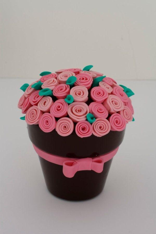 vaso de flor de biscuit