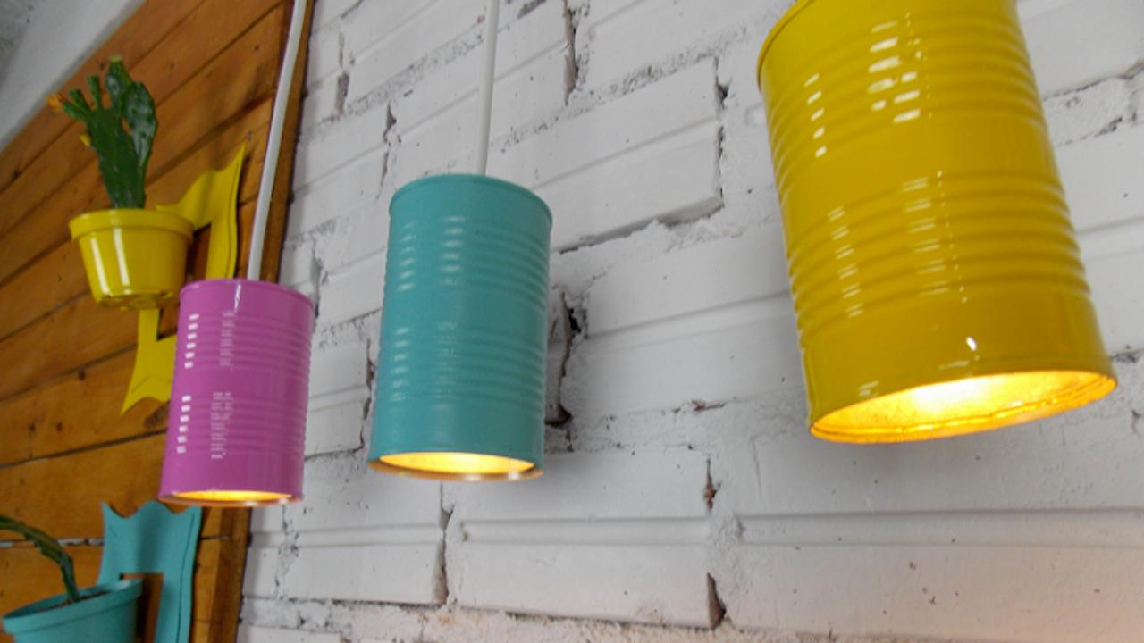 latas decoradas luminaria