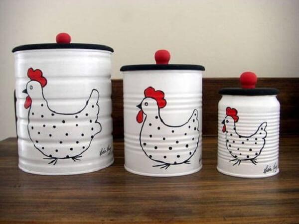 latas decoradas cozinha