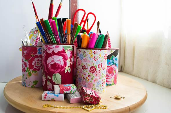latas decoradas tecido