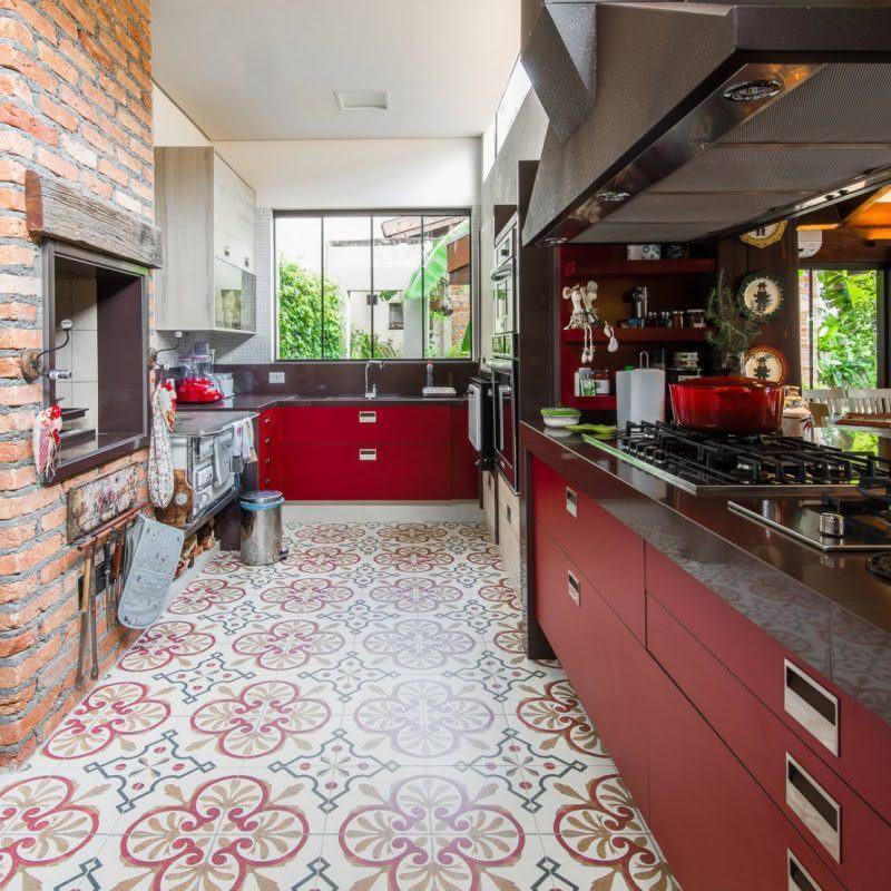 fogão a lenha cozinha colorida