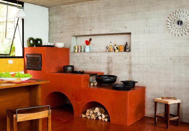 fogão a lenha cozinha vermelha