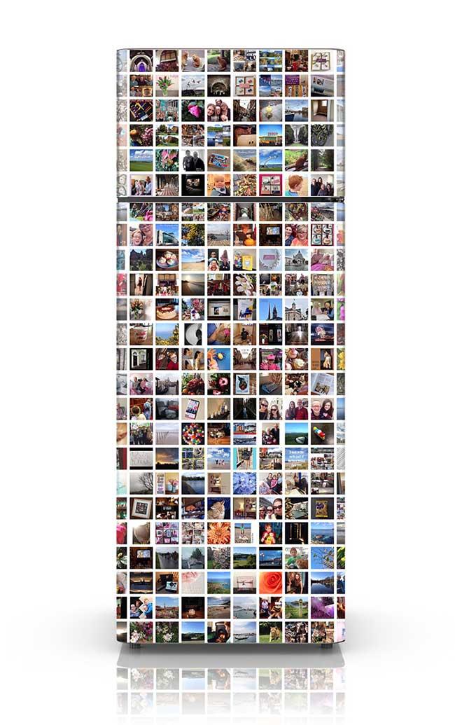 Geladeira com montagem de fotos