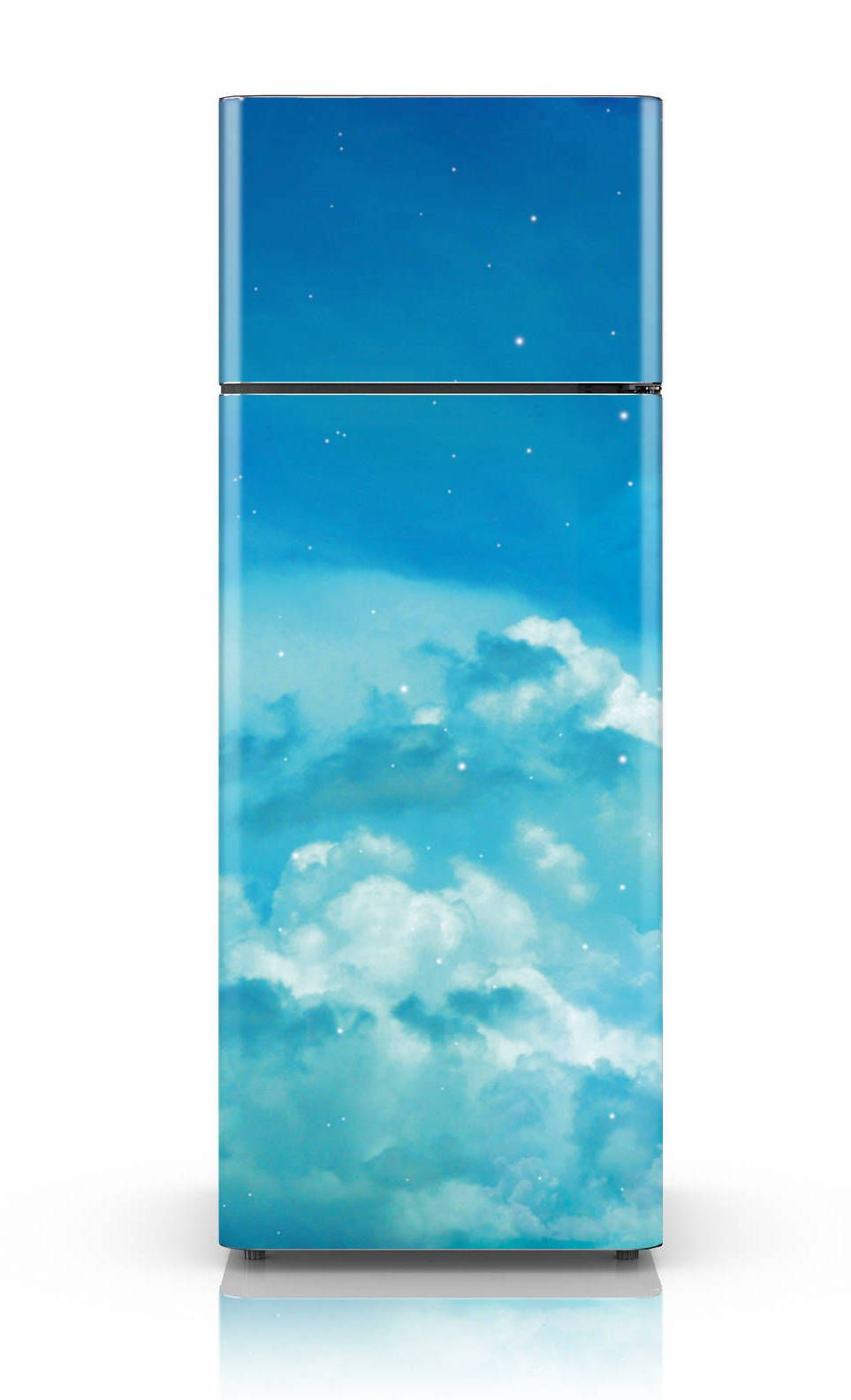 Geladeira envelopada com imagem do céu